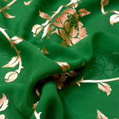 Dark Green and Golden Floral Design Brocade Silk Fabric-5411