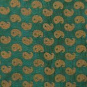 Dark Green and Golden Paisley Brocade Silk Fabric-1019