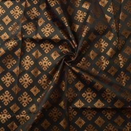 Dark Green and Golden Square Design Silk Brocade Fabric-8369
