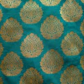Dark Green and Golden Zari Flower Brocade Silk Fabric-1066
