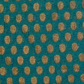 Dark Green and Golden Zari Work Brocade Silk Fabric by the yard