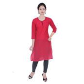 Dark Pink 3/4 Sleeve Solid Cotton Kurti-3010