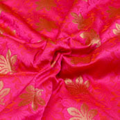 Dark Pink and Golden Flower Pattern Brocade Silk Fabric-5444