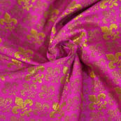 Dark Pink and Golden Unique Shape Brocade Silk Fabric-8052