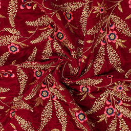 Red-Golden and Pink Flower Velvet Embroidery Fabric-60212
