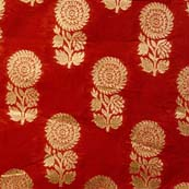 Dark Red and Golden Flower Brocade Silk Fabric by the yard