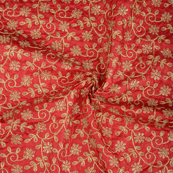 Dark Red and Golden leaf Design Paper Embroidery Silk Fabric-60600