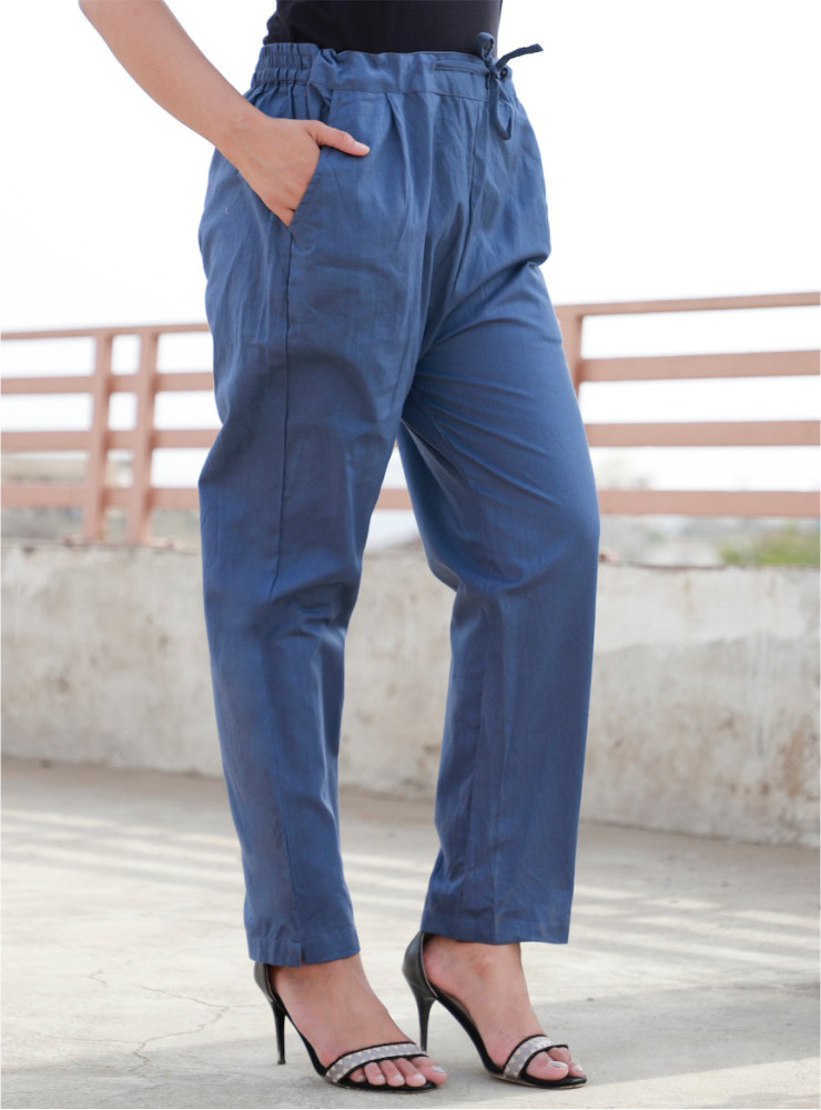 Denim Cotton Khadi Narrow Pant-33467