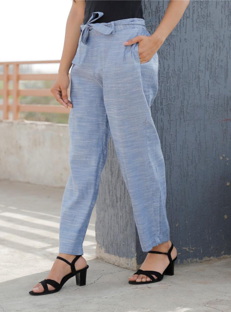 Denim Linen Slub Silk Women Pant with Loose Belt-33230