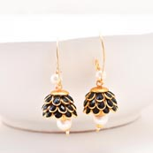 Floral Design Black Stones and White Moti with Golden Border Earring for Women