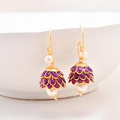 Floral Design Purple Stones and White Moti with Golden Border Earring for Women