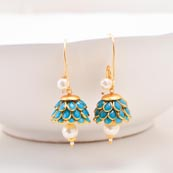 Floral Design Sky Blue Stones and White Moti with Golden Border Earring for Women