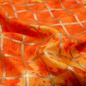 Foil print orange kota doria screen fabric-4913