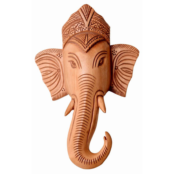 Ganesh ji Head Wall Hanging Teak Wood Statue