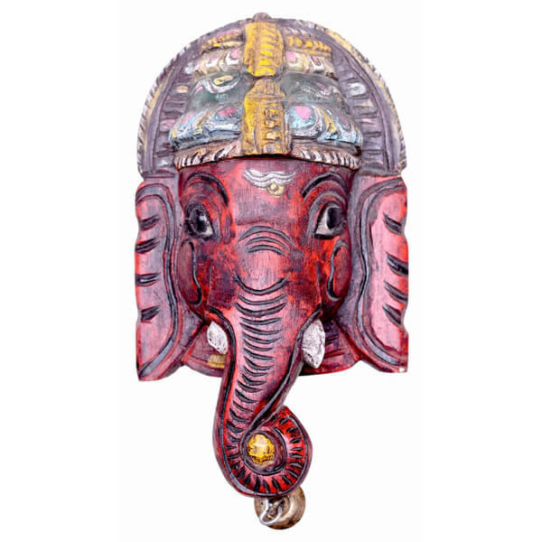 Ganpati Head Wall Hanging Teak Wood Statue