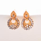 Gold Stone Circular Design with Golden Polish Earring for Women