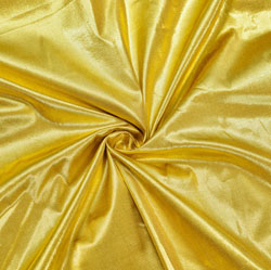 Golden Plain Brocade Silk Fabric-12422