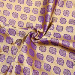 Golden Blue Floral Brocade Silk Fabric-12500