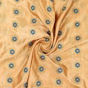 Golden Blue Flower Brocade Silk Fabric-9066