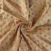 Golden Blue and Green Floral Satin Brocade Silk Fabric-9474