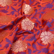 Golden-Blue and Red Flower Design Brocade Silk Fabric-5446