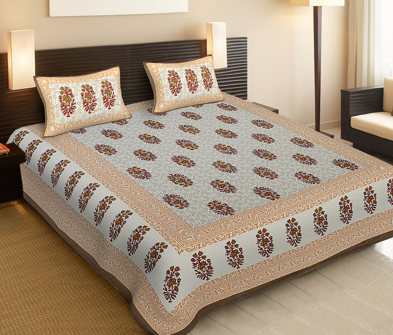 Golden Brown Cotton Jaipuri Bedsheet-540