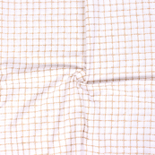 Golden Checks Pattern On White Block Print Cotton Fabric-14305