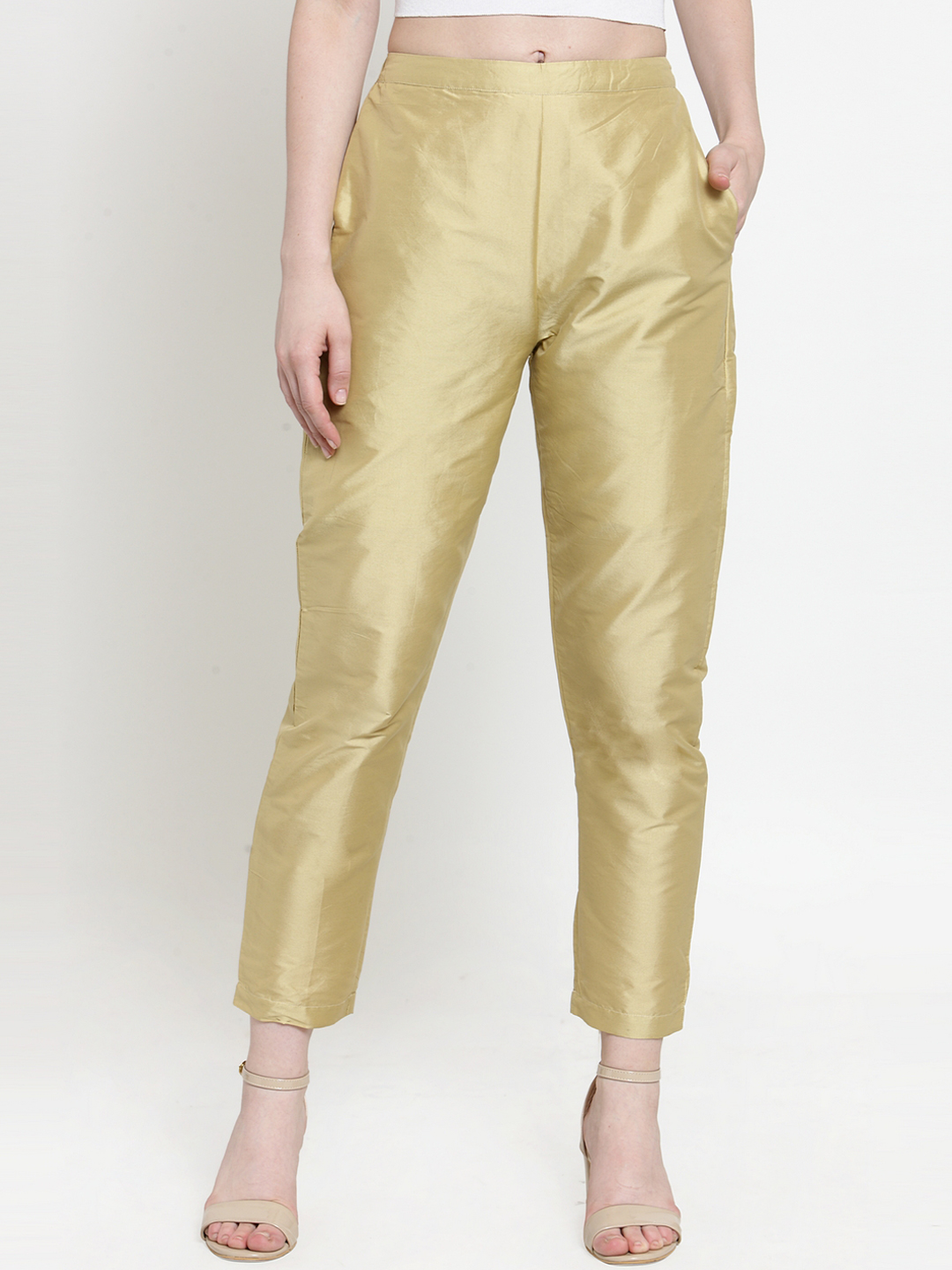 Golden Cotton Silk Ankle Pant-34276