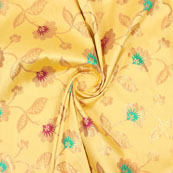 Golden Cyan and Maroon Floral Brocade Silk Fabric-9086