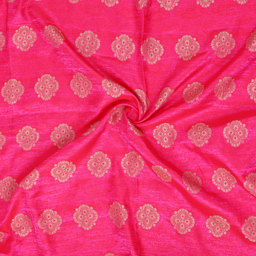 Golden Floral Design On Pink Brocade Silk Fabric-8341