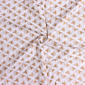 Golden Floral Design On White Block Print Cotton Fabric-14303
