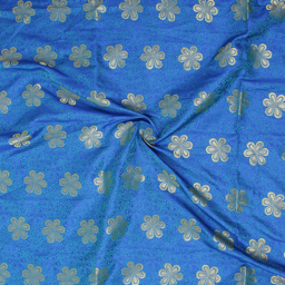 Golden Flower Design On Blue Brocade Silk Fabric-8360