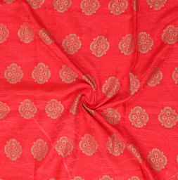 Golden Flower Pattern On Red Brocade Silk Fabric-8345
