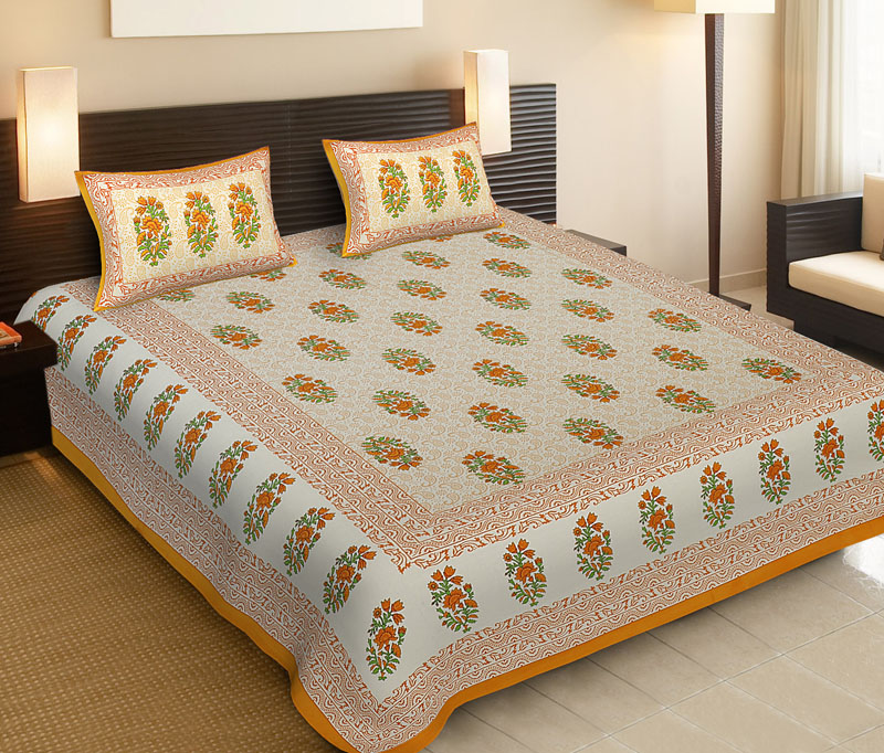 Golden Lemon Cotton Jaipuri Bedsheet-538