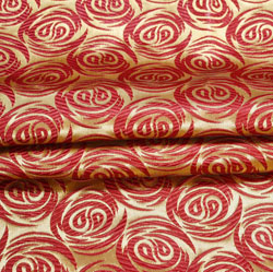 Golden Maroon Floral Brocade Silk Fabric-12333