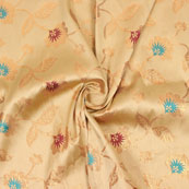 Golden Maroon and Cyan Floral Brocade Silk Fabric-9082
