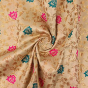 Golden Pink and Cyan Floral Brocade Silk Fabric-9111