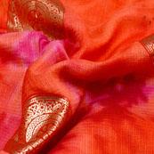 Golden-Pink and Peach Circle Pattern Kota Doria Fabric-6040