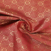 Golden Red Brocade Silk Fabric-8979