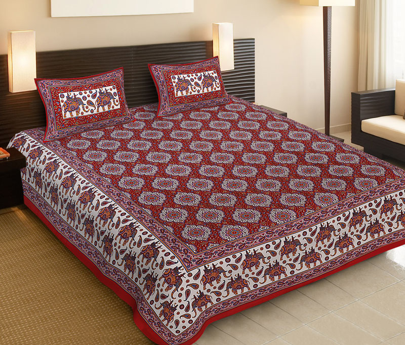 Golden Red Cotton Jaipuri Bedsheet-533