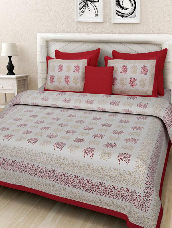 Golden Red Cotton Jaipuri Bedsheet-674