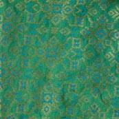 Golden-Sky Blue and Green Brocade Indian Fabric-4297