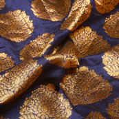 Golden and Blue Floral Design Brocade Silk Fabric-5322