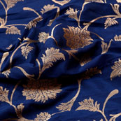 Golden and Blue Flower Pattern Brocade Silk Fabric-5310