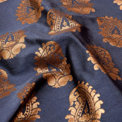 Golden and Blue Paisley Design Brocade Silk Fabric-5323