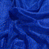 Golden and Blue Pearls Design Lycra Fabric-6545