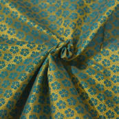 Golden and Blue Small Flower Pattern Brocade Silk Fabric-8058
