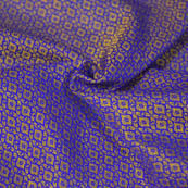 Golden and Blue Unique Shape Brocade Silk Fabric-8048