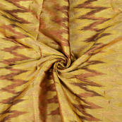 Golden and Brown Zig Zag Design Brocade Silk Fabric-8490