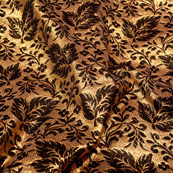 Golden and Brown leaf Pattern Brocade Silk Fabric-5337